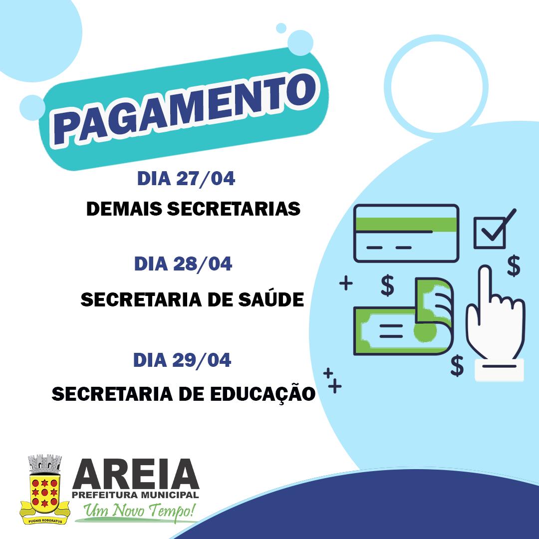 Calendário do mês de abril de pagamento dos servidores municipais de Areia